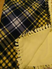 Fleece fabric no sew blanket - Navy blue and yellow plaid
