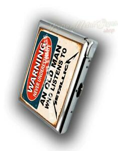 CIGARETTE CASE BUILD IN LIGHTER AN OLD MAN WHO LISTENS TO METALLICA
