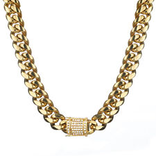 "18K Gold Plated Mens Miami Cuban Link Chain Necklace Stainless Steel 24"" 14mm"
