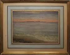 Tableau Marine XIX° Bord de mer au crépuscule Ernest Eugène BIRAUD (1884-1916)