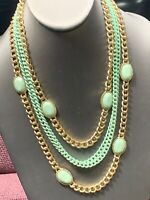 Vintage Mint &  Gold 4 Multi Strand Chain Waterfall Long Bib Statement Necklace