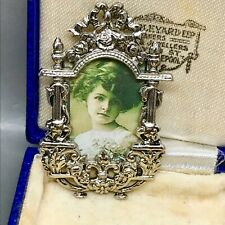 Ornate Silver Plated Picture Frame Photo Brooch