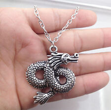 2017 1pcs silver dragon pendant alloy necklace girl necklace friend gift~