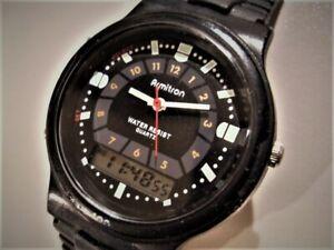 ARMITRON 20/2379 PRE-OWNED GREAT BLACK DUAL TIME QUARTZ MEN'S ALARM DATE WATCH