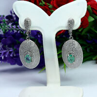 NATURAL 5 X 7mm. OVAL GREEN EMERALD & WHITE CZ LONG EARRINGS 925 STERLING SILVER