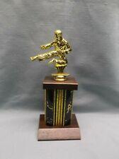 male Karate kneeling trophy award black column cherry finish wood base