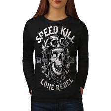 Wellcoda Speed Kill Skull Horror Womens Long Sleeve T-shirt,  Casual Design