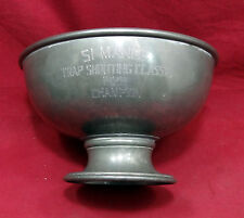 """Pewter Trap Shooting Trophy Dated 1929, """"Champion"""", 9"""" Diam. Marked Barton"""