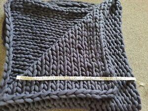 Soft Big Chunky Knit Blanket Blue