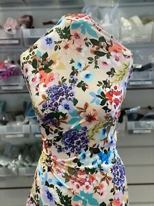 Beige Multicoloured FLORAL Print   ITY STRETCH FABRIC CLOTHING~SUMMER FABRIC