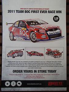 BROCHURE FOR BIANTE 1:18 2011 TEAM BOC 1ST EVER RACE WIN BRIGHT ULTRA RARE