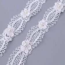 1/3/5Yds Pearl Lace Trim Embroidered Ribbon Applique Wedding Bridal Sewing DIY