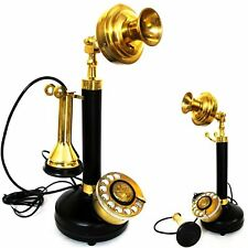 Antique Brass Candlestick Phone Retro Dialing Home Office Desk Phone