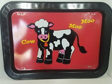 Cow Vintage Retro Mid Century Lap/Bed Folding Metal Tray