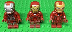 Lego Iron Man Minifigure Marvel Lot Mark 50, Mark 5 & Silver Hexagon Suit
