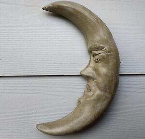 """11"""" Handmade Outdoor Indoor Sleepy Crescent Moon Wall Sculpture by Claybraven"""