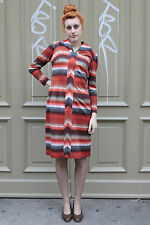 Damen Kleid orange schwarz weiß black white Streifen 70er True VINTAGE 70s women
