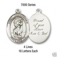 """SAINT CHRISTOPHER Engraved Sterling Filled Catholic Medal w/24""""  Stainless Chain"""