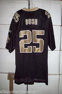 NEW NFL NEW ORLEANS SAINTS BUSH #25 HOME REEBOK JERSEY GOLD COLLAR ADULT XL