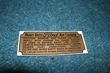 1939 1940 1941 FORD CARS AND TRUCKS HEAVY DUTY AIR CLEANER BASE SERVICE DECAL