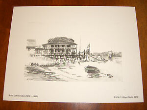 Pootatuck YC 2, Stratford,CT; 8/2/47 Vintage Sketch by JamesTabor (Lithograph)