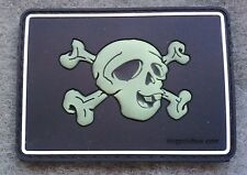 PVC PIRATE SKULL PATCH PJ MOLLE DEVGRU GITD SOF UKSF PCU 3D GID Hook Backing