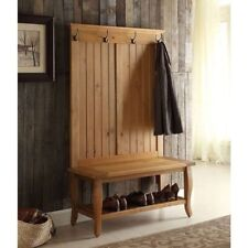 Rustic Pine Wooden Hall Tree Coat Rack Hat Hooks Storage Stand Entryway Bench