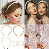Women Elegant Big Pearl Headband Girls Crystal Hairband Hair Hoop Accessories UK