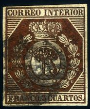 ESPAÑA 23 USADO 3 CUARTOS ESCUDO MADRID 1853 MADROÑO