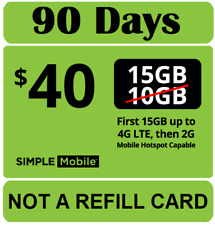 Simple Mobile $40 Plan for 3 MONTHS ($120 VALUE) - Unlt'd Talk,Text, 15GB LTE+Ca