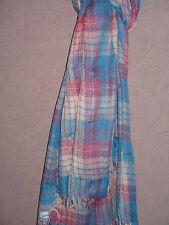 73a9eca569ec NOUVEAUTE Foulard   Echarpe 100% Coton Carreaux Rose et Bleu NEUF