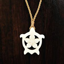 Hand Carved from Hawaii Sea Turtle Honu Aumakua with Lotus Flower Necklace
