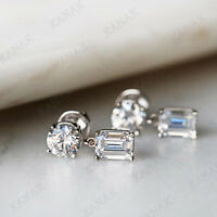 2.50 Ct D/VVS1 Diamond Round Cut Real 10K White Gold Drop Dangle Earrings
