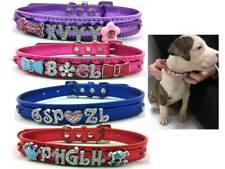 Personalised Dog Cat Pet NAME Collar PU Leather Rhinestone Metallic Diamante