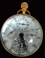 VINTAGE MOONPHASE GLOBE CLOCK BRASS & CRYSTAL MECHANICAL CALENDAR COMPLICATION