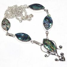 """Handmade Mother of Pearl Abalone Shell 925 Sterling Silver Necklace 19.5"""" N01593"""
