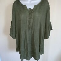 Style & Co. Size Petite Small Womens NEW Green Textured Blouse Top Pullover