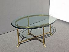 Vintage La Barge Italian Style Brass & Glass Oval COFFEE TABLE Rounded Edge Huff