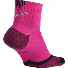 NIKE Elite Running Quarter Reflective Socks Pink Womens 11.5-13 Mens 10.5 - 11.5