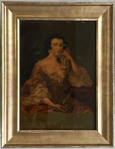 Unusual antique reverse glass mezzotint print, portrait of Lady Finch, framed