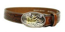 Nocona N4410402-24 Leather Kid's Western Metal Bull Rodeo Buckle Brown Belt