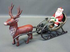 fonte Père Noël avec renne Luge Attelage 38 cm 3 kg Noël
