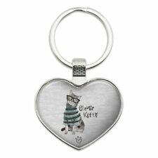 Clever Smart Kitty Cat Kitten Glasses Sweater Heart Love Metal Keychain