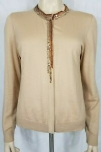 St. John tan beige wool silk cashmere blend button front sequin cardigan Medium