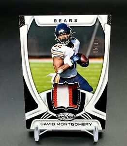 DAVID MONTGOMERY 2021 CERTIFIED 4 COLOR PATCH JERSEY CARD Numbered 5/10- Bears
