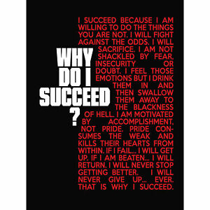 Sports Motivational Succeed Red Large Canvas Wall Art Print