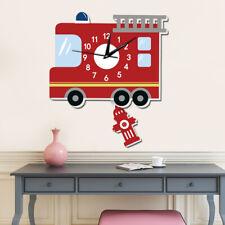 1Pcs Children's Wall Clock Silent Fire Truck Bedroom Living Room Gift Background