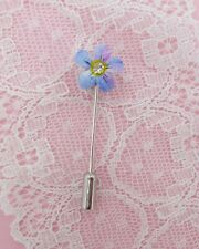 Masonic Lapel Pin Hand Painted Tiny Forget-Me-Not Pin Floral Friendship Brooch