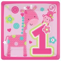 Pack of 8 1st Birthday Plates - Party Pink Paper Square Plates Tableware 541424