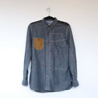 JUNYA WATANABE comme des garcons man denim blue green shirt button down XS